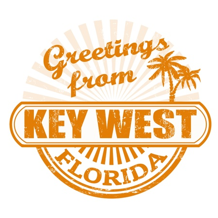 Grunge rubber stamp with text Greetings from Key West, Florida, vector illustration Çizim