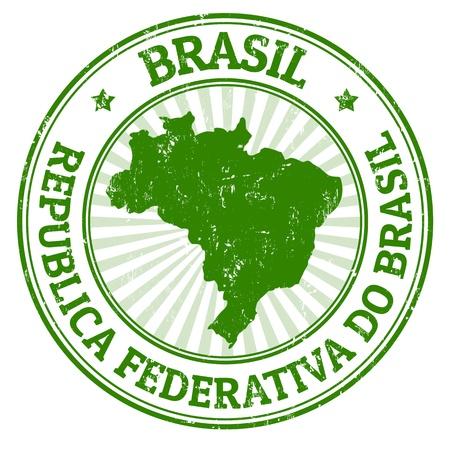 sur: Grunge sello de goma con el nombre y el mapa de Brasil, ilustración vectorial