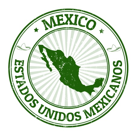 mexican: Grunge rubber stamp with the name and map of Mexico, vector illustration