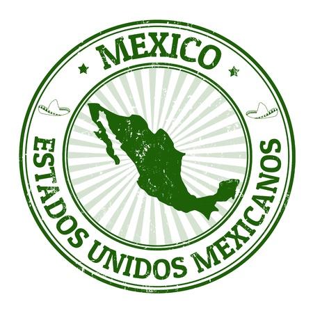 pasaporte: Grunge sello de goma con el nombre y el mapa de México, ilustración vectorial