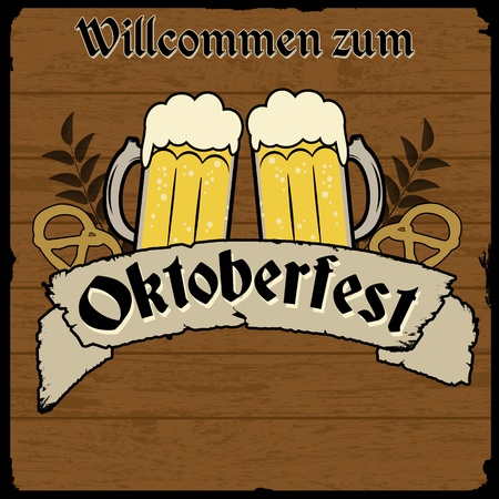 Oktoberfest, vintage retro poster with wooden background, vector illustration Vector