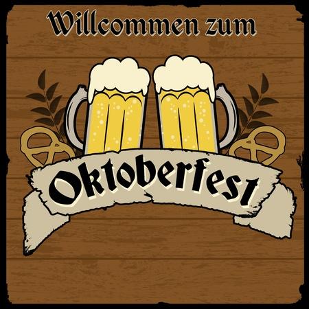 Oktoberfest, vintage retro poster with wooden background, vector illustration Stock Vector - 21705341