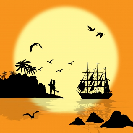 Sea sunset with boat, island and couple silhouettes, vector illustration Vector