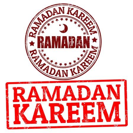 kuran: Set of  Ramadan Kareem grunge rubber stamps, vector illustration