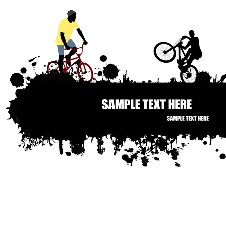 extremal: Grunge cycling poster with cyclists silhouette and space for your text, vector illustration