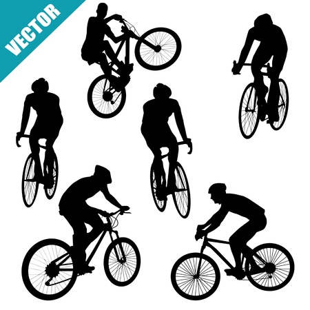 Various cycling poses of cyclists silhouettes on white background, vector illustration Illustration