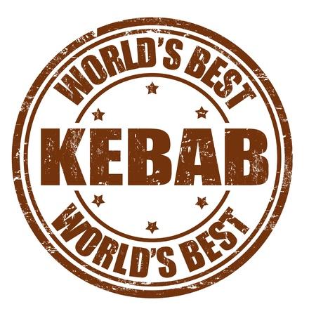 Kebab grunge rubber stamp on white background, vector illustration