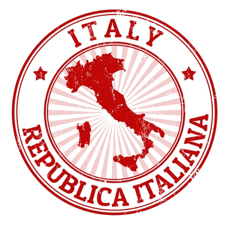 Grunge rubber stamp with the name and map of Italy, vector illustration Vector