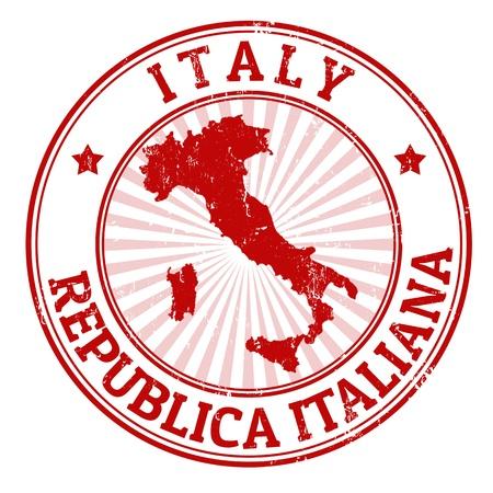 stempel reisepass: Grunge Stempel mit dem Namen und der Karte von Italien, Vektor-Illustration