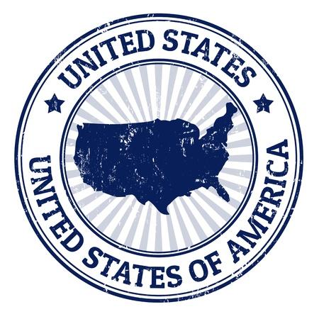post stamp: Grunge timbro di gomma con il nome e la mappa degli Stati Uniti d'America, illustrazione vettoriale