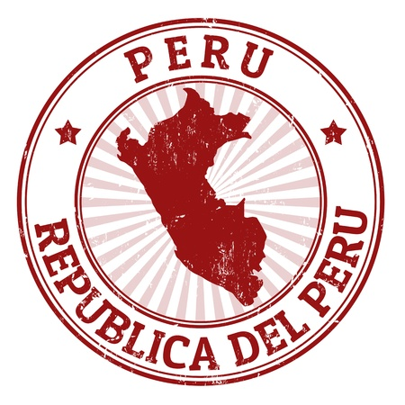 Grunge rubber stamp with the name and map of Peru, vector illustration Иллюстрация