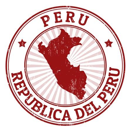 post stamp: Grunge timbro di gomma con il nome e la cartina del Per�, illustrazione vettoriale