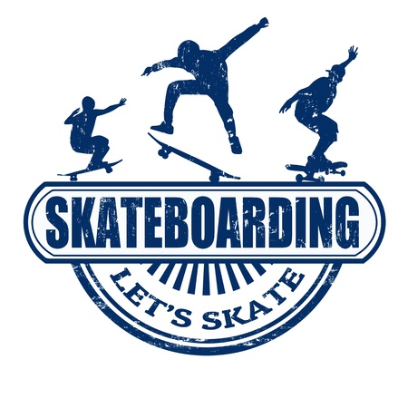 Skateboarding grunge rubber stamp on white background, vector illustration