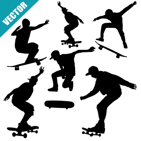 Skateboarders silhouettes on white background, vector illustration Vector