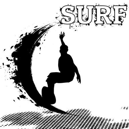 surfer vector: Surfer silhouette on grunge background, vector illustration Illustration