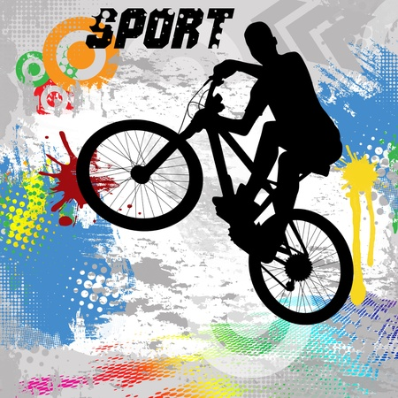 grungy background: BMX cyclist on abstract grunge background, vector illustration