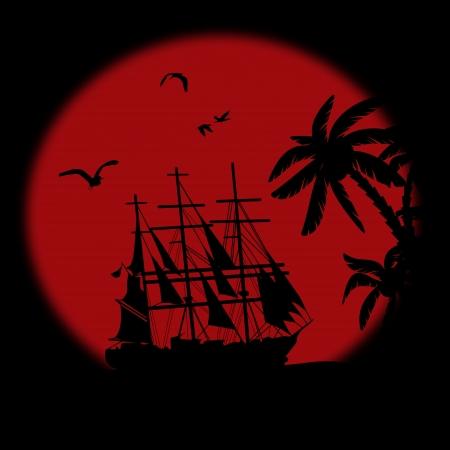 braqueur: Bateau flottant sur l'oc�an en face d'une tr�s grande pleine lune rouge la nuit