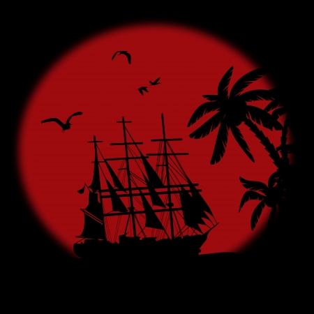 flying boat: Boat floating on the ocean in front of a very big red full moon by night
