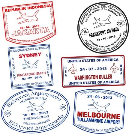 aduana: Pasaporte sellos de grunge de Yakarta, Sydney, Tessaloniki, Frankfurt, Washington y Melbourne, ilustraci�n vectorial