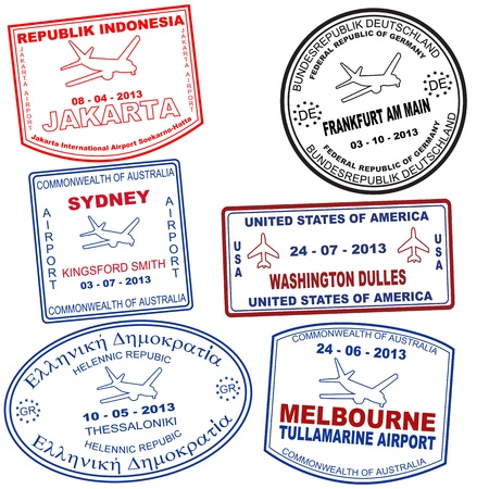 australia stamp: Passport grunge stamps from Jakarta, Sydney, Tessaloniki, Frankfurt, Washington and Melbourne, vector illustration