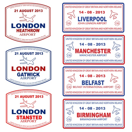 Passport stamps of the UK and Northern Ireland, vector illustration Illustration