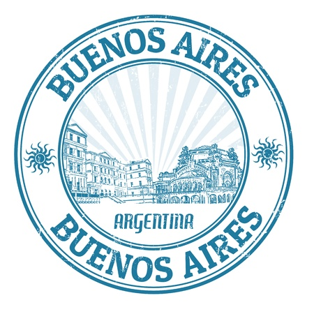 argentina: Black grunge rubber stamp with the name of Buenos Aires the capital of Argentina written inside, vector illustration