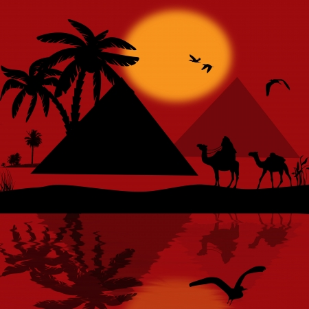 nile: Bedouin camel caravan in wild africa landscape with reflexion on water, vector illustration