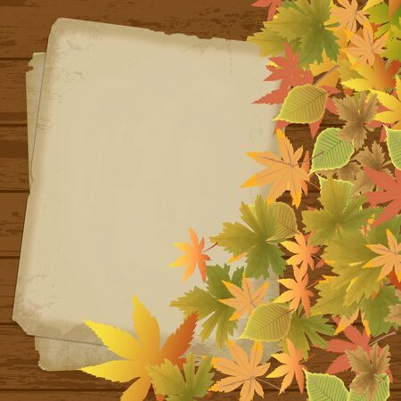 Beautiful background with autumn leaves and old paper on wooden surface Vector