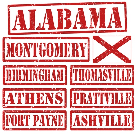 Set of Alabama cities stamps on white background Stock Vector - 21823062