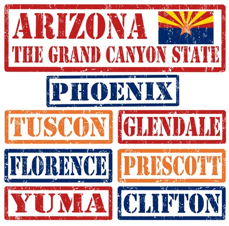 grand canyon: Set of Arizonacities stamps on white background