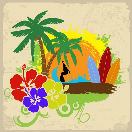 surfer: Tropical poster with a surfer, hibiscus flowers and palm trees on vintage background