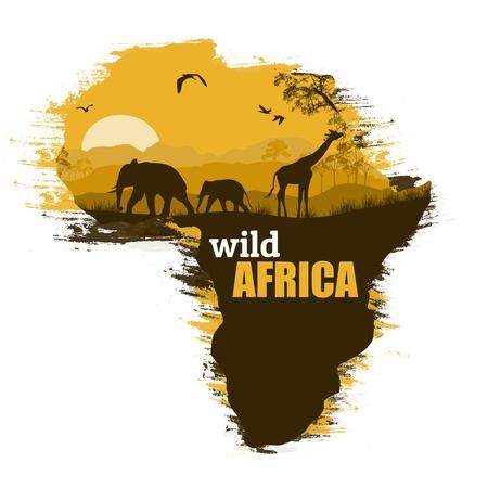 テキストのスペースを持つ、アフリカの地図上のアフリカの野生動物のシルエット  イラスト・ベクター素材