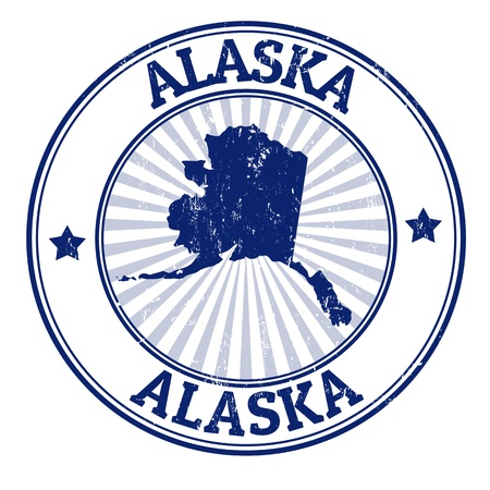 Grunge rubber stamp with the name and map of Alaska Vector