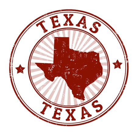 Grunge rubber stamp with the name and map of Texas