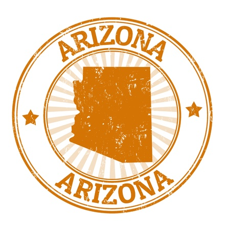 Grunge rubber stamp with the name and map of Arizona Vector