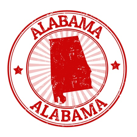 alabama: Grunge rubber stamp with the name and map of Alabama