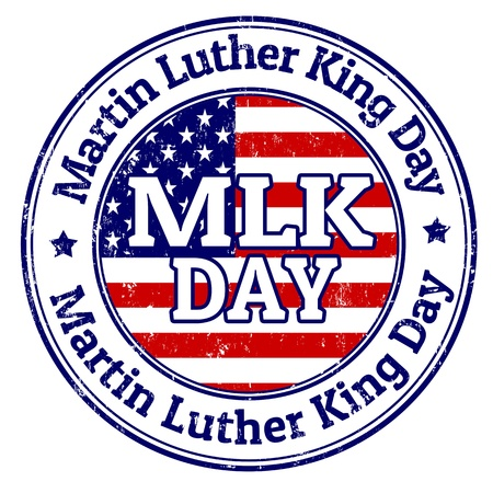 juniors: Martin Luther King Day grunge rubber stamp on white Illustration