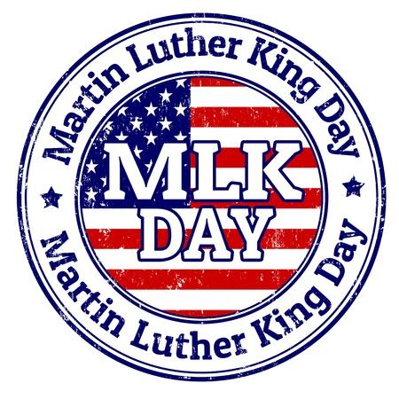 feriado: Martin Luther King grunge sello de goma en blanco