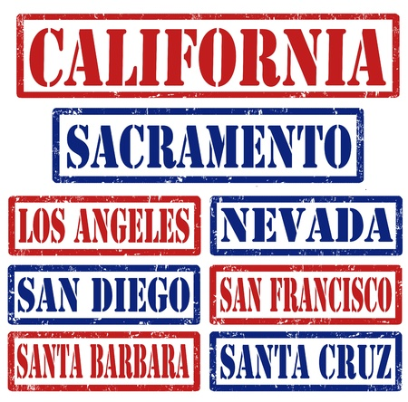Set of California cities stamps on white background Vector