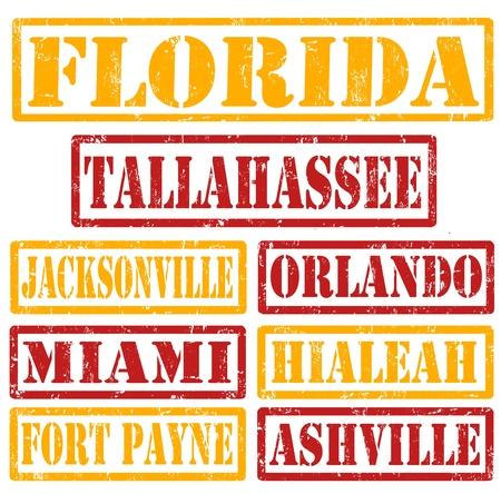 timbre voyage: Ensemble de Floride villes timbres sur fond blanc, illustration vectorielle