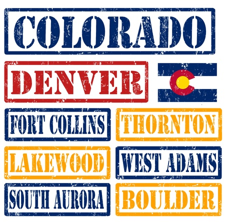 collins: Set of Colorado cities stamps on white background, vector illustration Illustration
