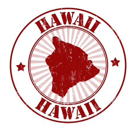 identifier: Grunge rubber stamp with the name and map of Hawaii, vector illustration