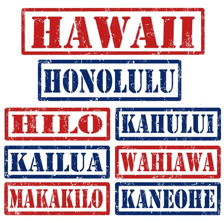 hawaii flag: Set of Hawaii cities stamps on white background, vector illustration
