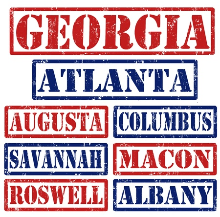 georgia flag: Set of Georgia cities stamps on white background, vector illustration Illustration