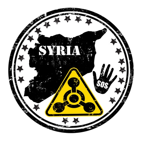syrian war: Distressed Syria Chemical Weapon grunge rubber stamp, vector illustration Illustration