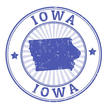 identifier: Grunge rubber stamp with the name and map of Iowa Illustration