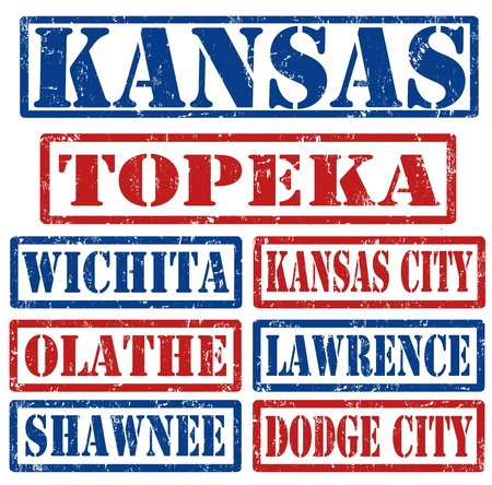 dodge: Set of Kansas cities stamps on white background, vector illustration