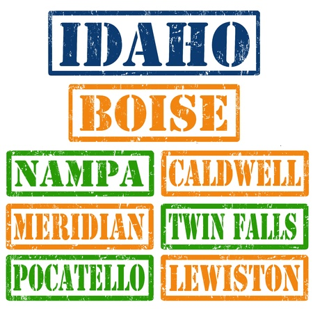 Set of Idaho cities stamps on white background Illustration