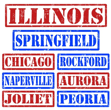 Set of Illinois cities stamps on white background Vector