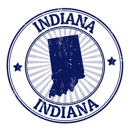 indiana: Grunge rubber stamp with the name and map of Indiana